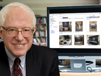 Picture of Bernie Sanders on library computer browsing the free section on Craigslist